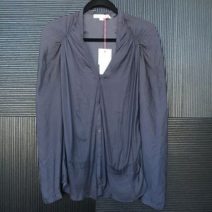 SEE BY CHLOE Ruched Shouldner Snap Blouse